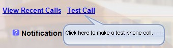 Registration Test Call Select