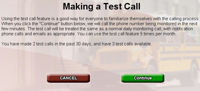 Registration Test Call